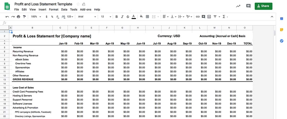 Create Profit & Loss statements easily using our free online Google Sheets P&L template.
